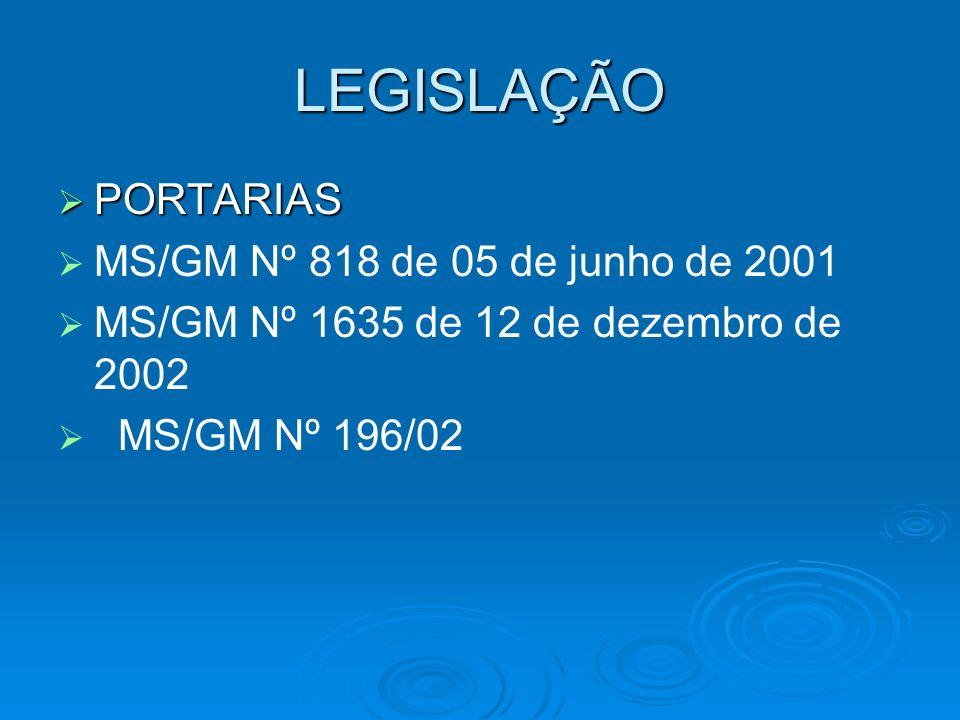 LEGISLAÇÃO PORTARIAS MS/GM Nº 818 de 05 de junho de 2001