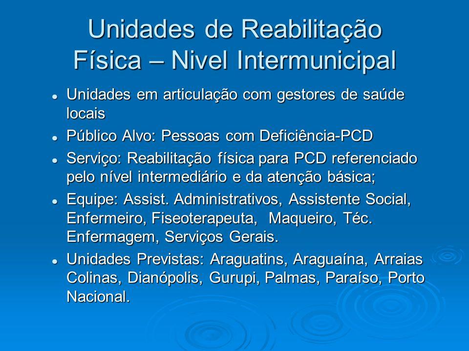 Unidades de Reabilitação Física – Nivel Intermunicipal