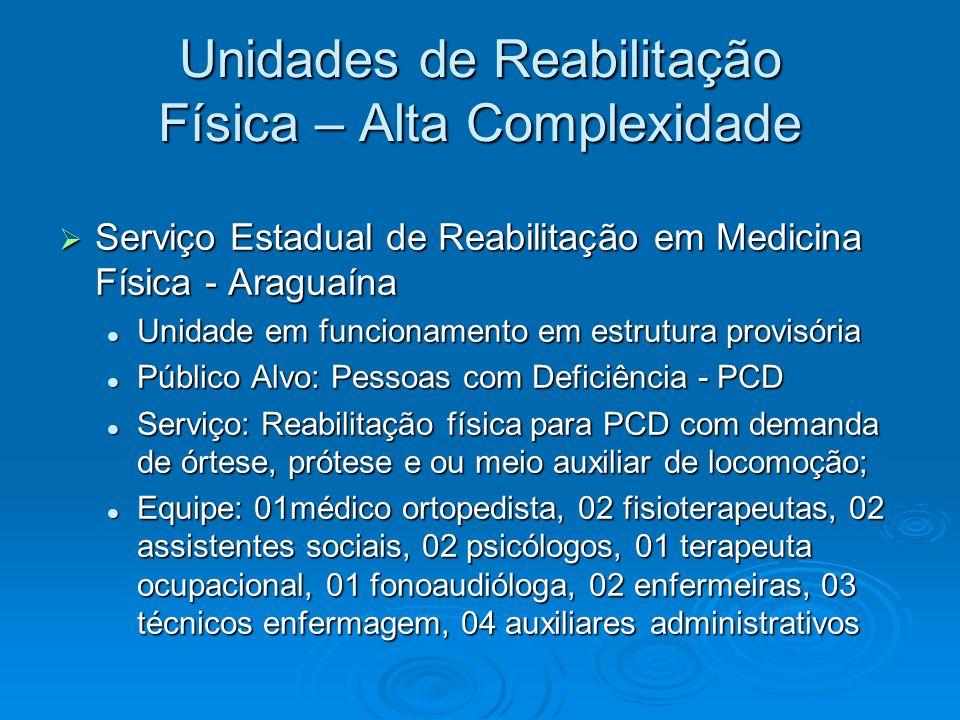Unidades de Reabilitação Física – Alta Complexidade