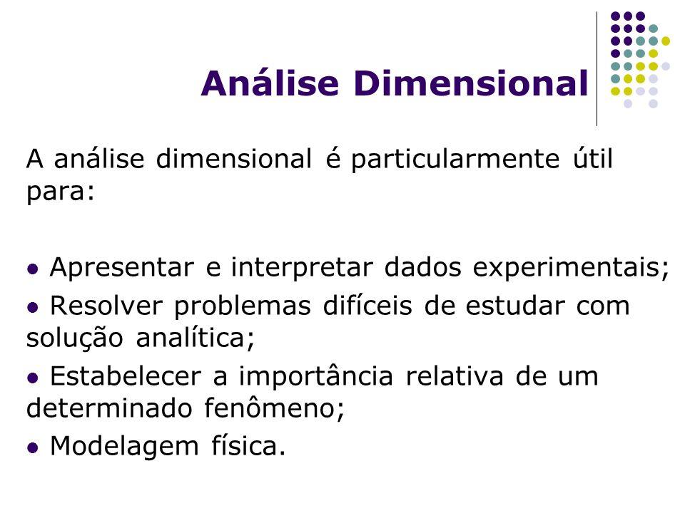 Análise Dimensional A análise dimensional é particularmente útil para: