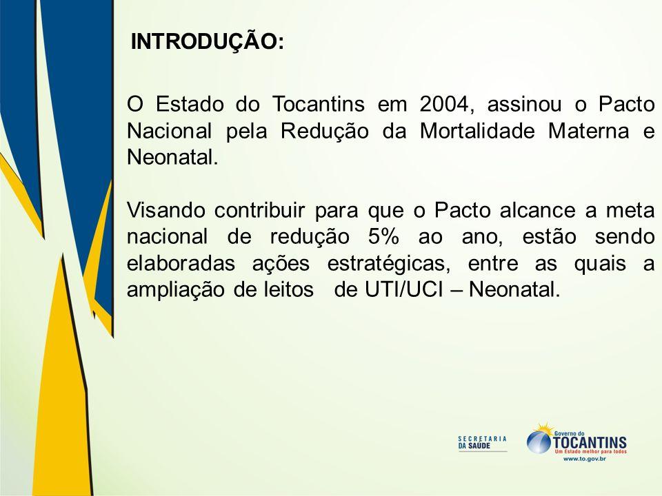 INTRODUÇÃO: O Estado do Tocantins em 2004, assinou o Pacto Nacional pela Redução da Mortalidade Materna e Neonatal.