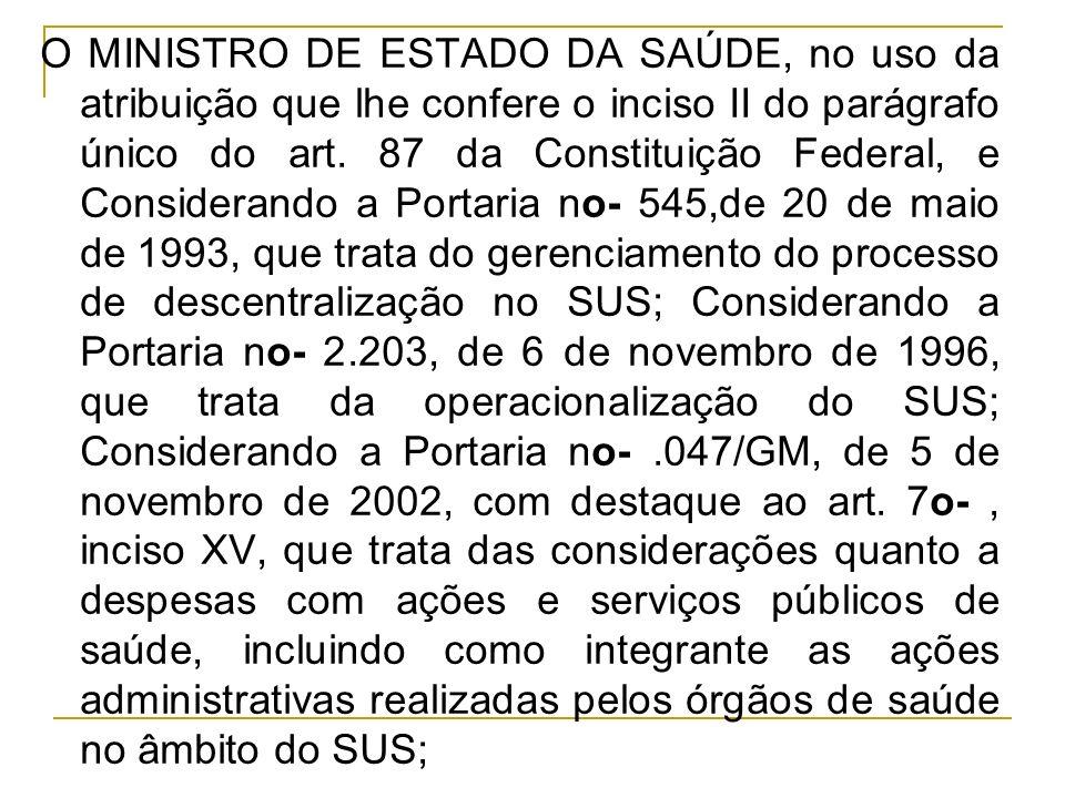 O MINISTRO DE ESTADO DA SAÚDE, no uso da atribuição que lhe confere o inciso II do parágrafo único do art.