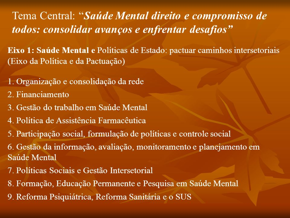 Tema Central: Saúde Mental direito e compromisso de todos: consolidar avanços e enfrentar desafios