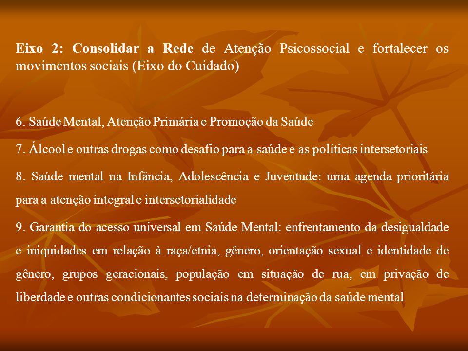 Eixo 2: Consolidar a Rede de Atenção Psicossocial e fortalecer os movimentos sociais (Eixo do Cuidado)