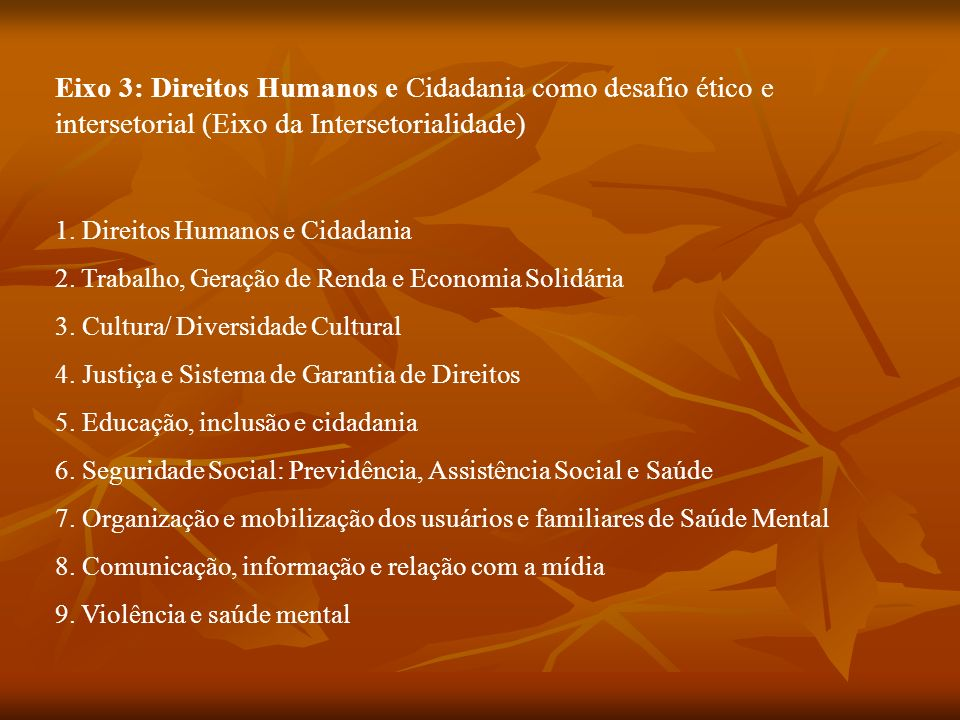 Eixo 3: Direitos Humanos e Cidadania como desafio ético e intersetorial (Eixo da Intersetorialidade)