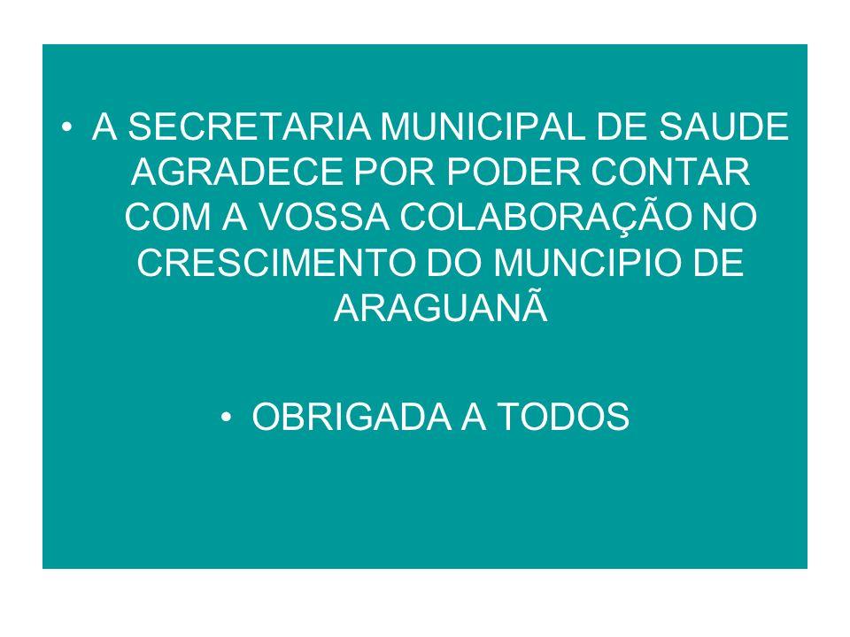 A SECRETARIA MUNICIPAL DE SAUDE AGRADECE POR PODER CONTAR COM A VOSSA COLABORAÇÃO NO CRESCIMENTO DO MUNCIPIO DE ARAGUANÃ