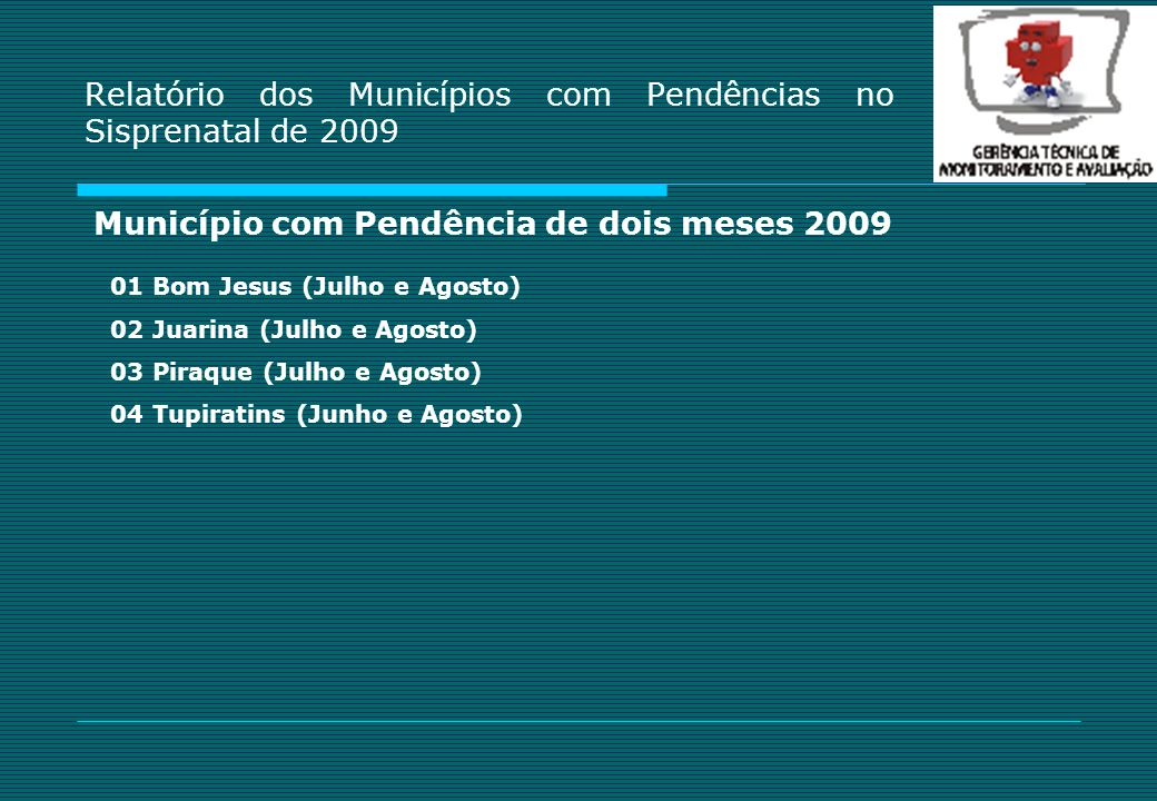 Relatório dos Municípios com Pendências no Sisprenatal de 2009
