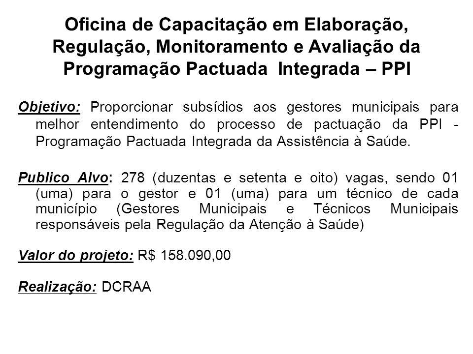 Oficina de Capacitação em Elaboração, Regulação, Monitoramento e Avaliação da Programação Pactuada Integrada – PPI