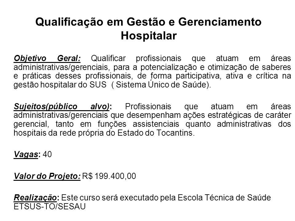 Qualificação em Gestão e Gerenciamento Hospitalar