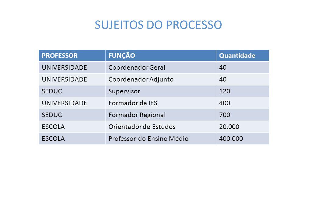 SUJEITOS DO PROCESSO PROFESSOR FUNÇÃO Quantidade UNIVERSIDADE