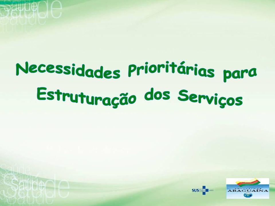 Necessidades Prioritárias para Estruturação dos Serviços