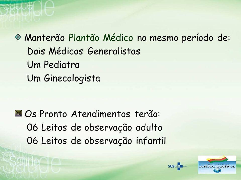Manterão Plantão Médico no mesmo período de: