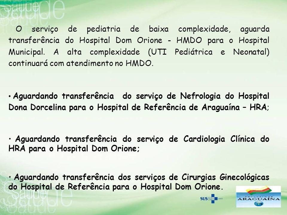 O serviço de pediatria de baixa complexidade, aguarda transferência do Hospital Dom Orione - HMDO para o Hospital Municipal. A alta complexidade (UTI Pediátrica e Neonatal) continuará com atendimento no HMDO.