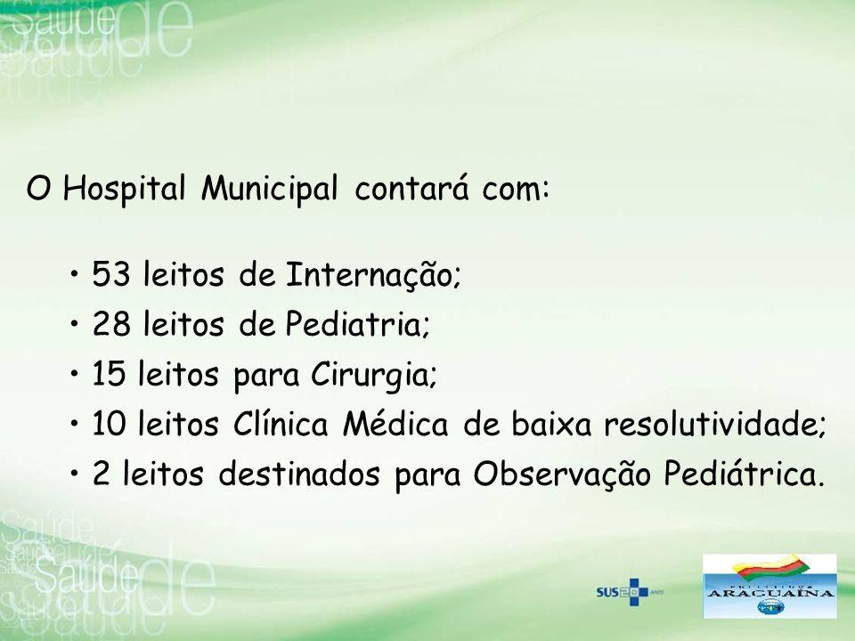 O Hospital Municipal contará com: