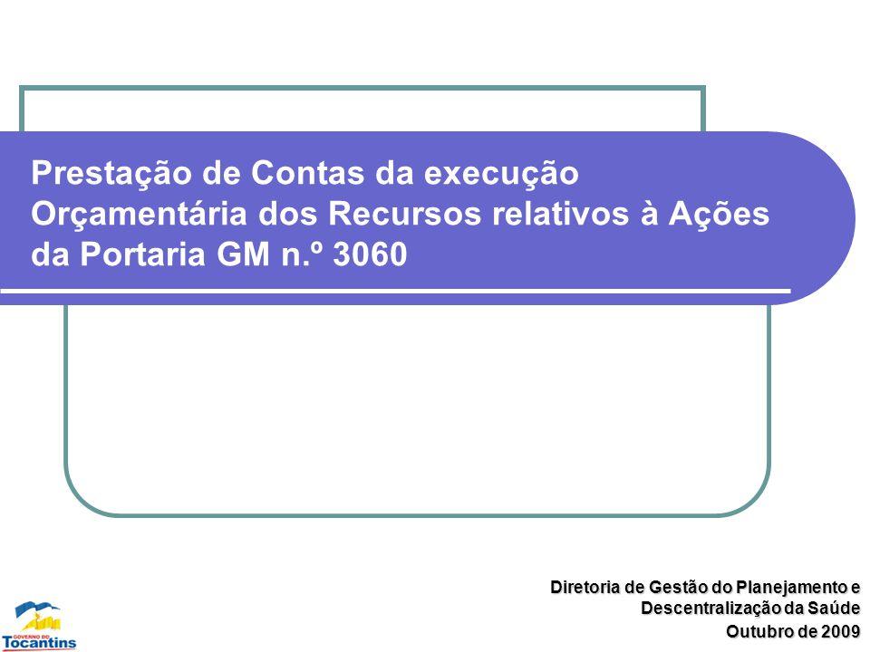 Prestação de Contas da execução Orçamentária dos Recursos relativos à Ações da Portaria GM n.º 3060