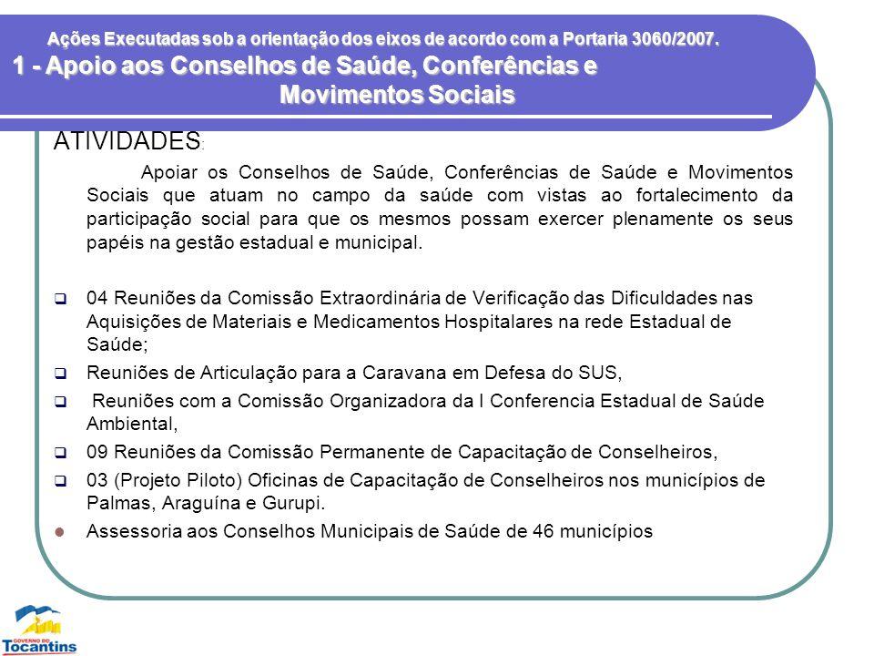 1 - Apoio aos Conselhos de Saúde, Conferências e