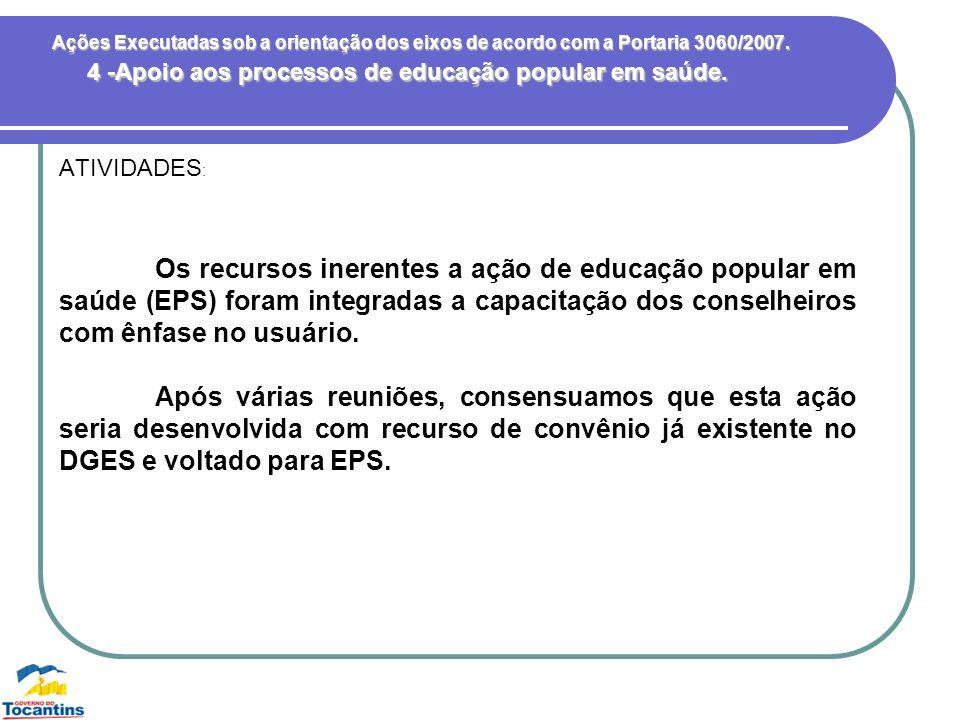 4 -Apoio aos processos de educação popular em saúde.
