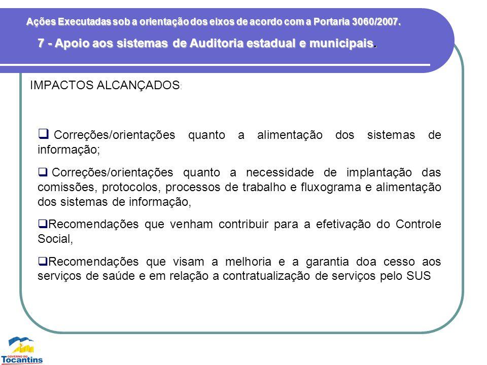 7 - Apoio aos sistemas de Auditoria estadual e municipais.