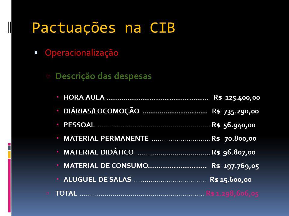 Pactuações na CIB Operacionalização Descrição das despesas