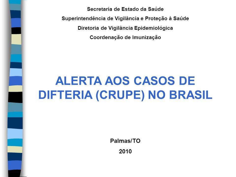 ALERTA AOS CASOS DE DIFTERIA (CRUPE) NO BRASIL
