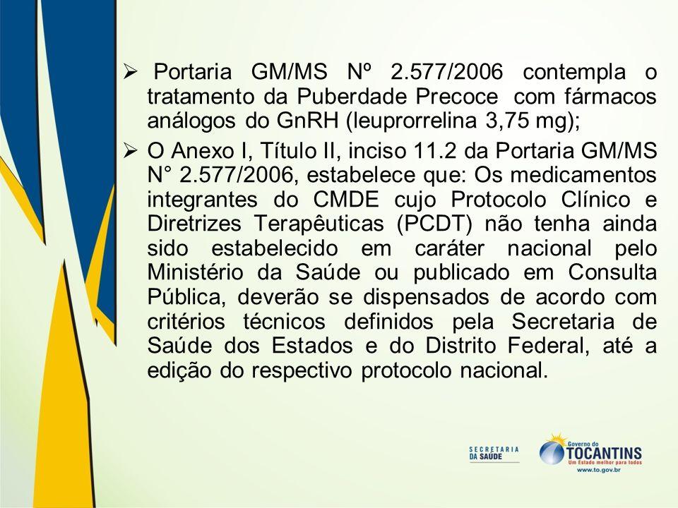 Portaria GM/MS Nº 2.577/2006 contempla o tratamento da Puberdade Precoce com fármacos análogos do GnRH (leuprorrelina 3,75 mg);