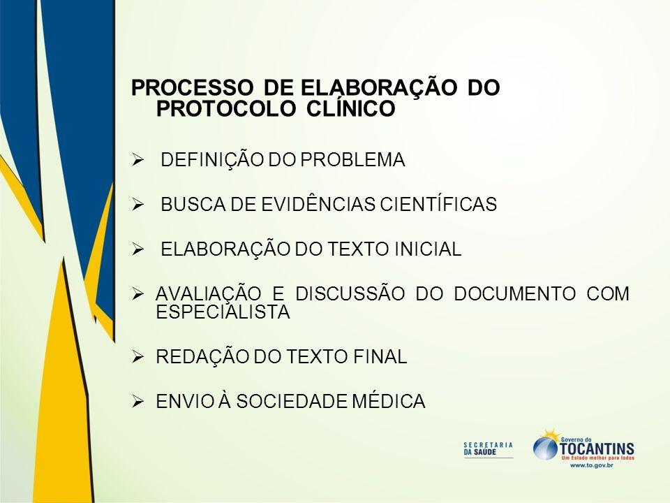 PROCESSO DE ELABORAÇÃO DO PROTOCOLO CLÍNICO