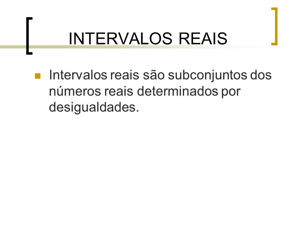 INTERVALOS REAIS Intervalos reais são subconjuntos dos números reais determinados por desigualdades.