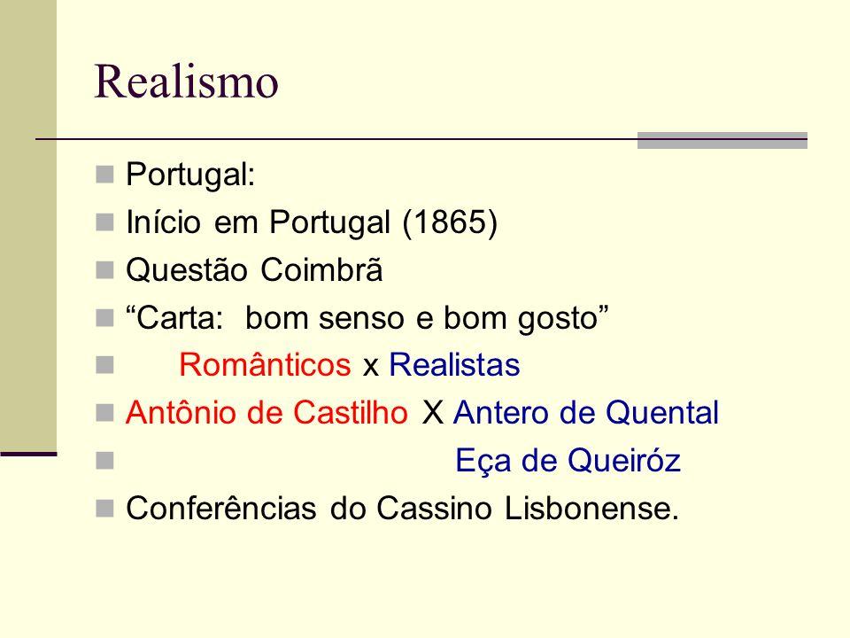 Realismo Portugal: Início em Portugal (1865) Questão Coimbrã
