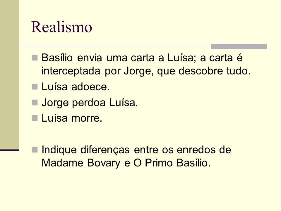 Realismo Basílio envia uma carta a Luísa; a carta é interceptada por Jorge, que descobre tudo. Luísa adoece.