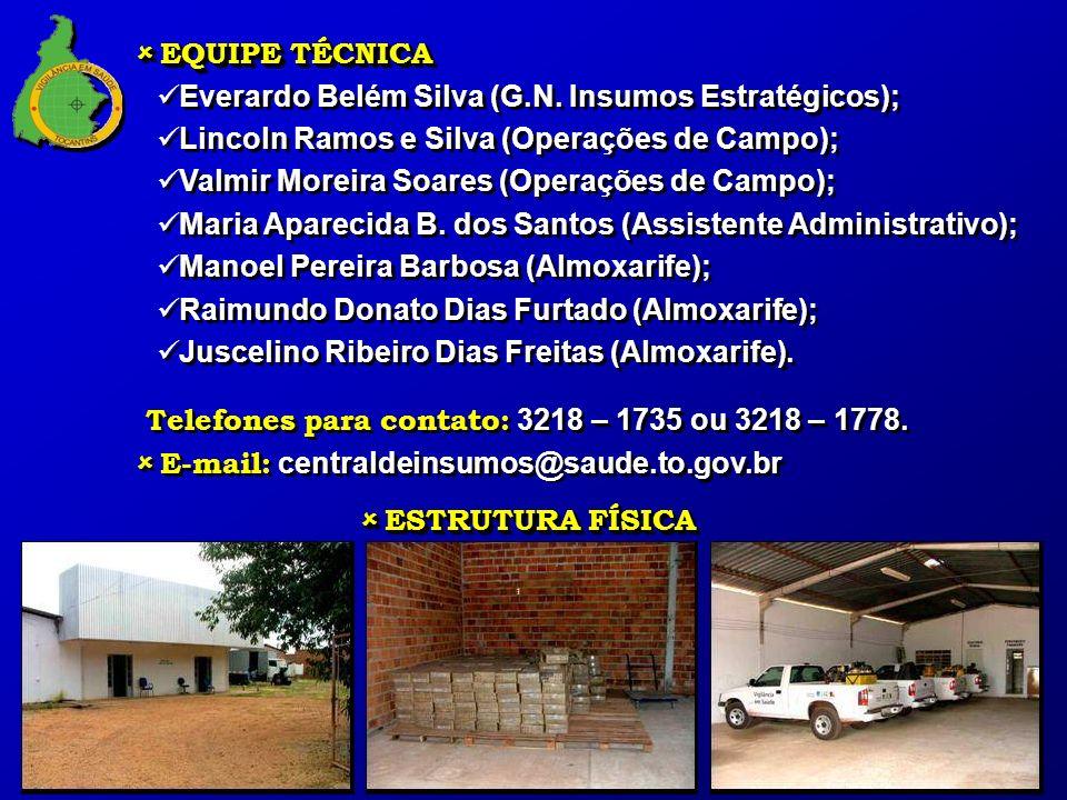 EQUIPE TÉCNICA Everardo Belém Silva (G.N. Insumos Estratégicos); Lincoln Ramos e Silva (Operações de Campo);