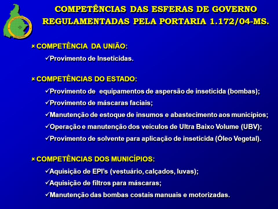 COMPETÊNCIAS DAS ESFERAS DE GOVERNO REGULAMENTADAS PELA PORTARIA 1