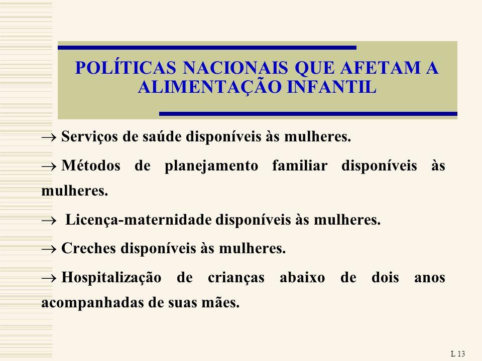 POLÍTICAS NACIONAIS QUE AFETAM A ALIMENTAÇÃO INFANTIL