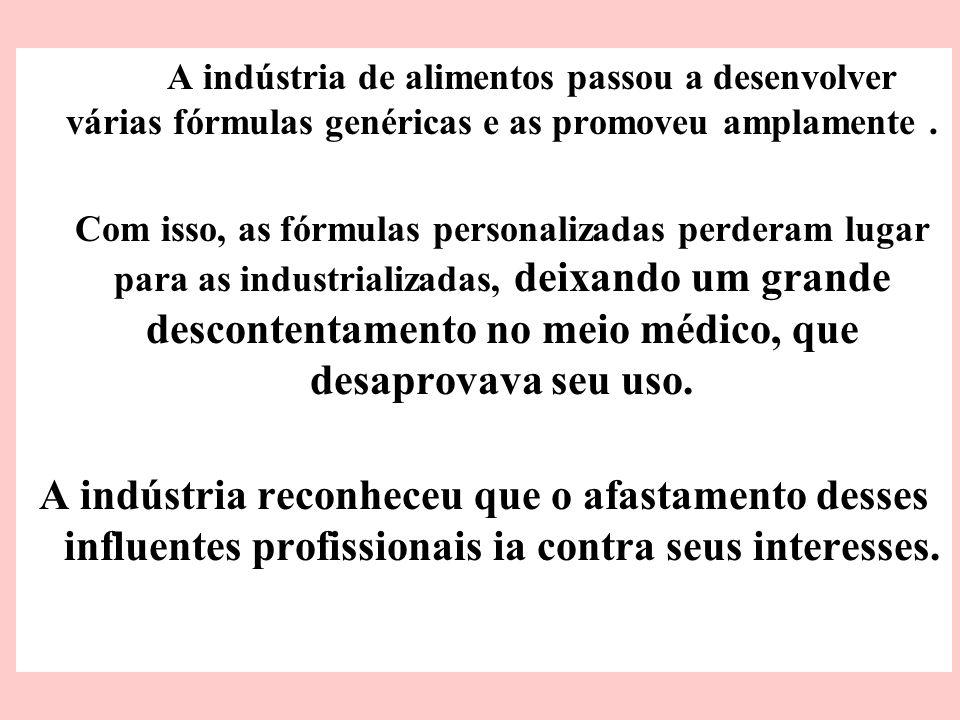 A indústria de alimentos passou a desenvolver várias fórmulas genéricas e as promoveu amplamente .