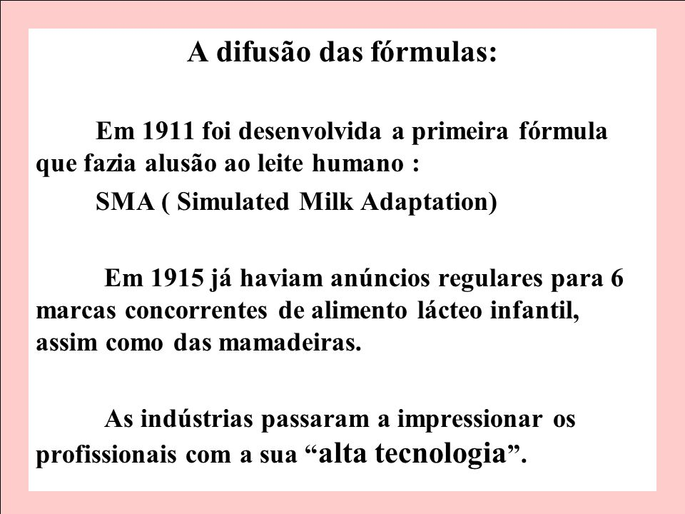 A difusão das fórmulas: