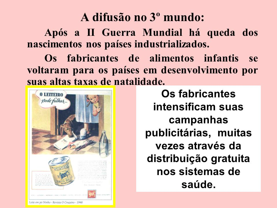 A difusão no 3º mundo: Após a II Guerra Mundial há queda dos nascimentos nos países industrializados.