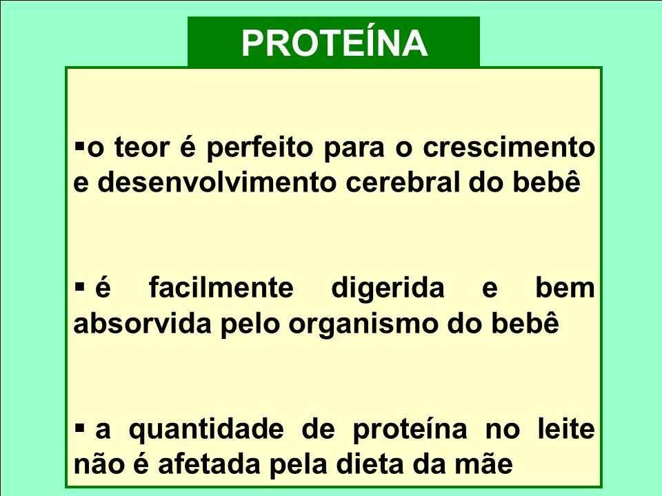 PROTEÍNA o teor é perfeito para o crescimento e desenvolvimento cerebral do bebê. é facilmente digerida e bem absorvida pelo organismo do bebê.