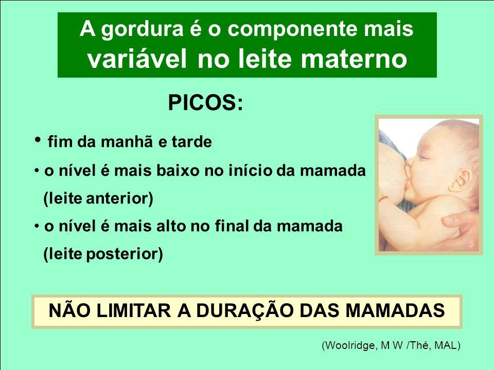 A gordura é o componente mais variável no leite materno PICOS: