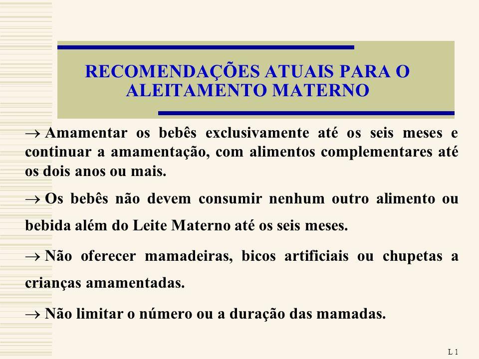 RECOMENDAÇÕES ATUAIS PARA O ALEITAMENTO MATERNO