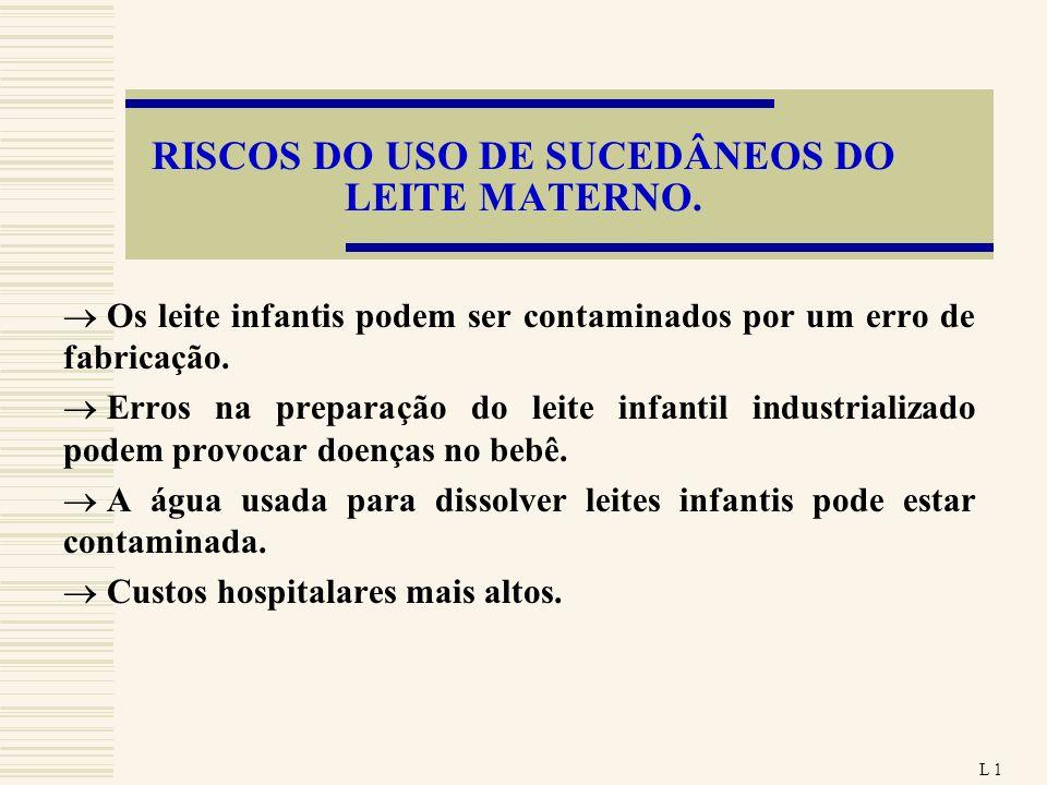 RISCOS DO USO DE SUCEDÂNEOS DO LEITE MATERNO.