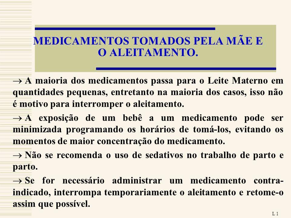 MEDICAMENTOS TOMADOS PELA MÃE E O ALEITAMENTO.