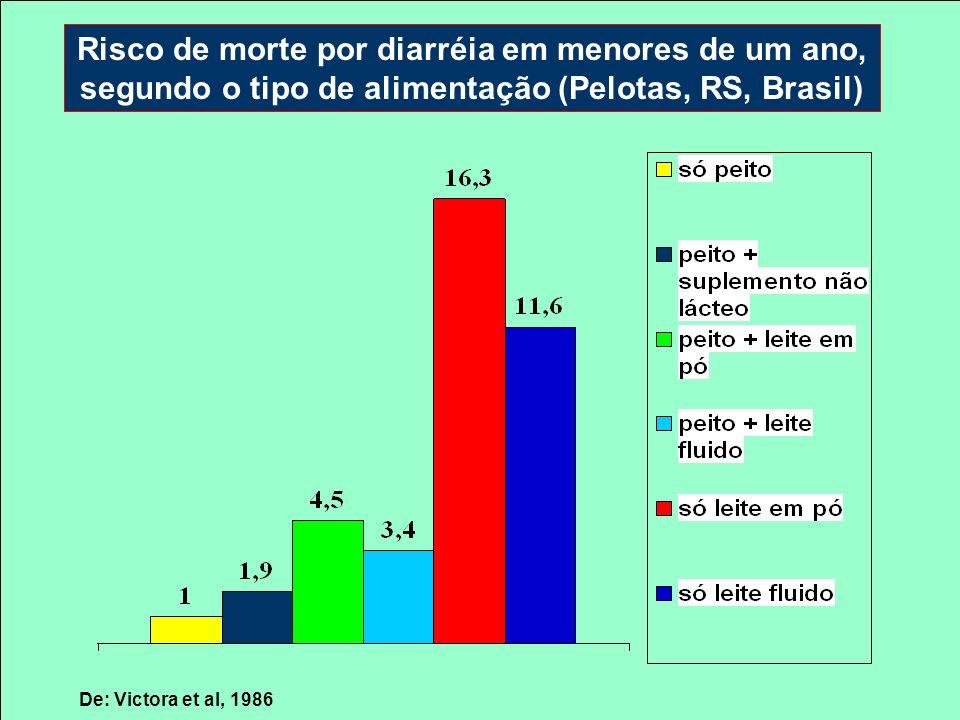 Risco de morte por diarréia em menores de um ano, segundo o tipo de alimentação (Pelotas, RS, Brasil)