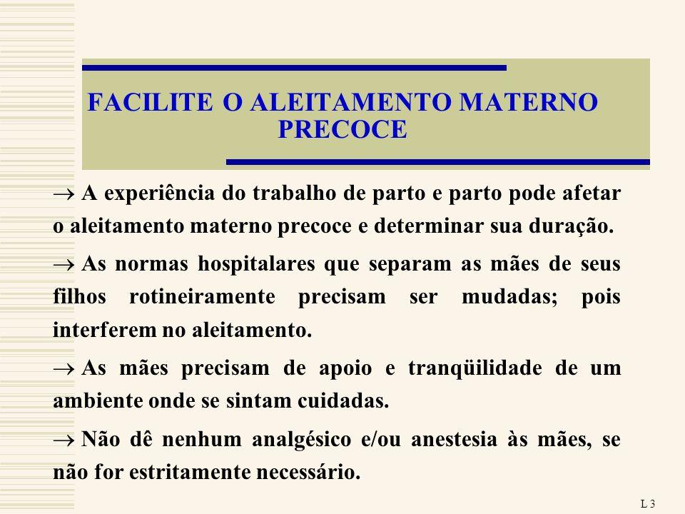 FACILITE O ALEITAMENTO MATERNO PRECOCE