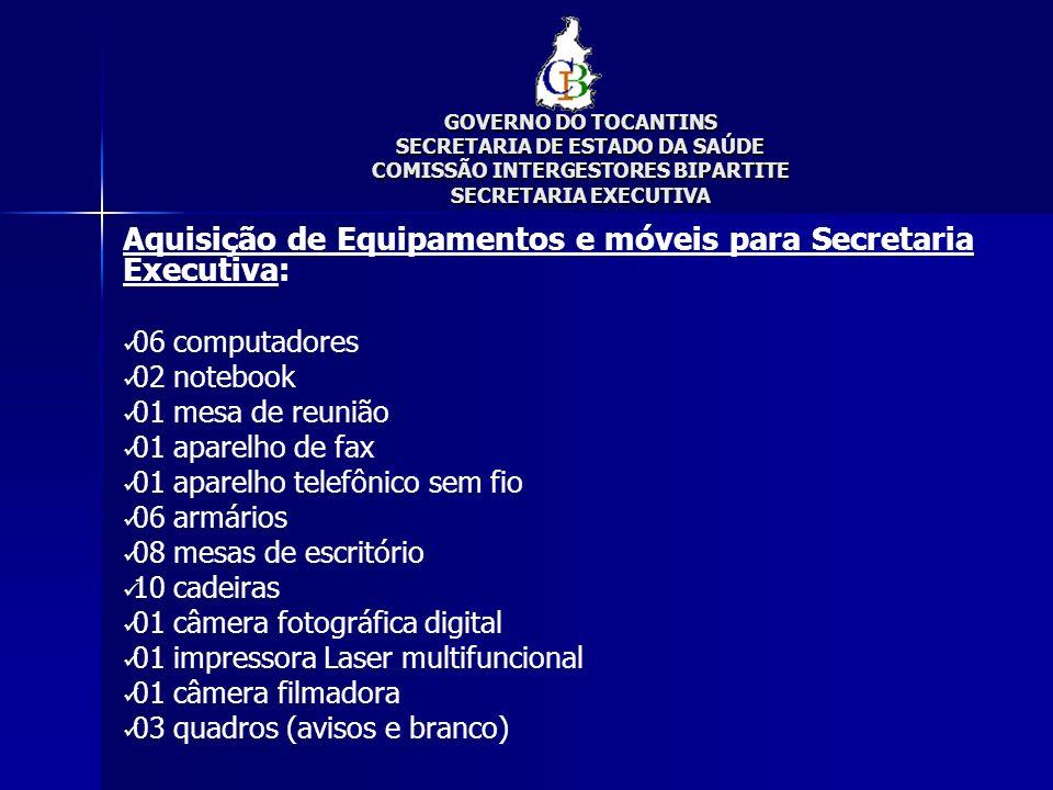 Aquisição de Equipamentos e móveis para Secretaria Executiva: