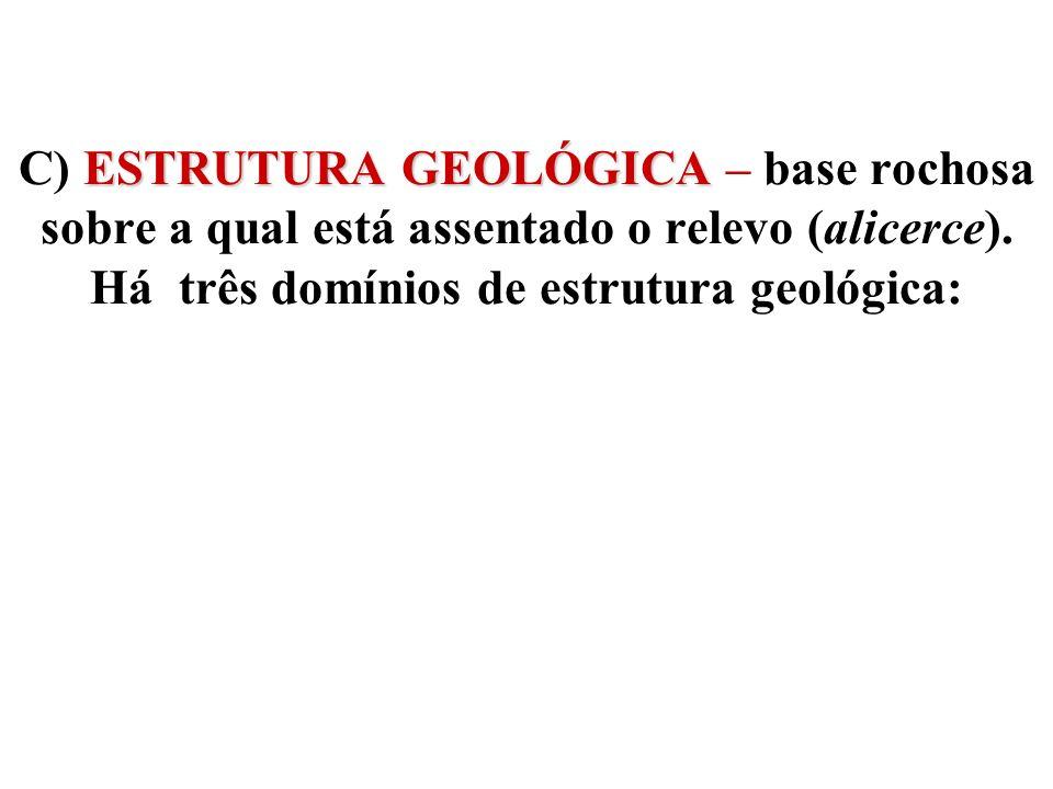 C) ESTRUTURA GEOLÓGICA – base rochosa sobre a qual está assentado o relevo (alicerce).