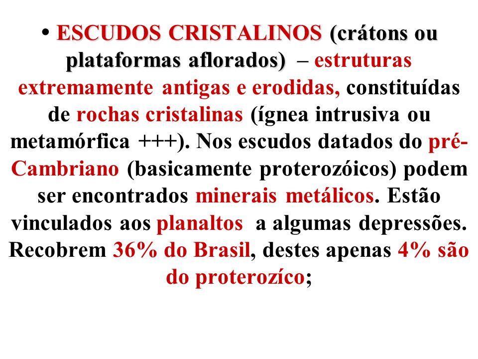  ESCUDOS CRISTALINOS (crátons ou plataformas aflorados) – estruturas extremamente antigas e erodidas, constituídas de rochas cristalinas (ígnea intrusiva ou metamórfica +++).