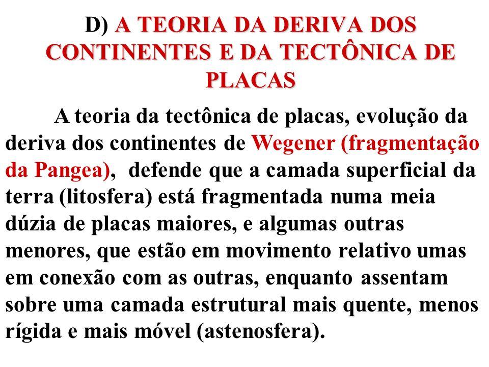 D) A TEORIA DA DERIVA DOS CONTINENTES E DA TECTÔNICA DE PLACAS