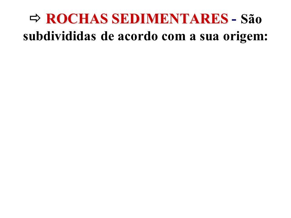  ROCHAS SEDIMENTARES - São subdivididas de acordo com a sua origem: