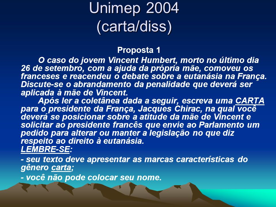Unimep 2004 (carta/diss) Proposta 1