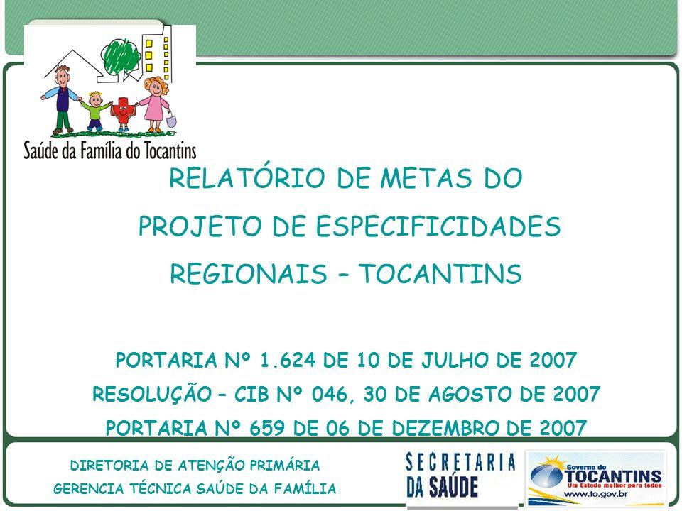 PROJETO DE ESPECIFICIDADES REGIONAIS – TOCANTINS