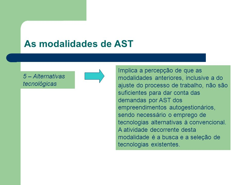 As modalidades de AST 5 – Alternativas tecnológicas.